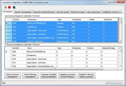 Her vises integrationen til revisorsystemet