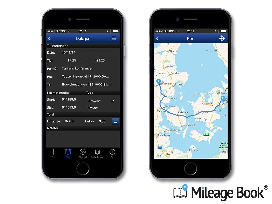 Se detaljer for ruten i kørebog-app'en