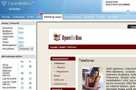 Billede af indhold og layout i OpenBizBox webshop-løsning fra Golden Planet