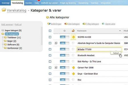 Skærmbillede af varekatalog i OpenBizBox fra Golden Planet