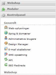 Her ser man hvordan CMS ser ud i Wannafind hosted webshop