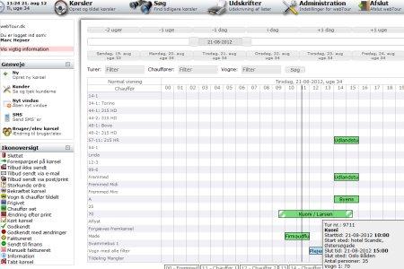 Her vises planlægningsdelen af webTour
