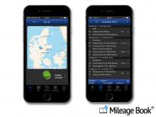 Her vises skærmbillede fra kørebog-app